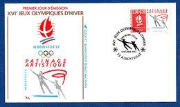 Enveloppe Premier Jour  / Jeux Olympiques Albertville / Patinage Artistique /  Albertville / 8 Février 1990 - FDC
