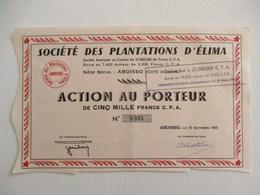 ACTION 5000 FRANCS CFA TITRE AU PORTEUR SOCIETE DES PLANTATIONS DE CAFE D ELIMA ABOISSO COTE D IVOIRE AFRIQUE - Afrique
