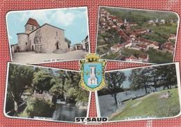 CPSM 10X15 . (24) ST SAUD  (868 Ha) Multi-vues Eglise/ Vieux Moulin/  Plage Du Gd Etang / Vue Gale Dont Vue Aérienne) - France