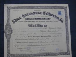 India 1963's Khas Karanpura Collieries Ltd. Mine Share Certificate Revenue # FB1 - Mines