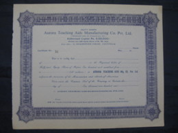 India Aurora Teaching Aids Manufacturing Co.Pvt Ltd. Share Certificate # FB3 - Industry