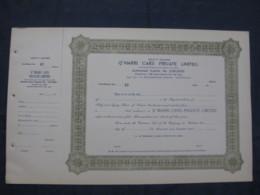 India Q' Marri Cars Private Ltd. Blank Share Certificate # FB5 - Cars