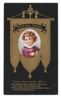 Victorian Chromo Card Christian Bible Quote For Children Gold Banner On Black - Other