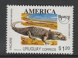 TIMBRE NEUF D'URUGUAY - CAÏMAN LATIROSTRIC N° Y&T 1463 - Reptiles & Batraciens
