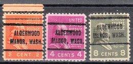 USA Precancel Vorausentwertung Preo, Locals Washington, Alderwood Manor 714, 3 Diff. - Vereinigte Staaten