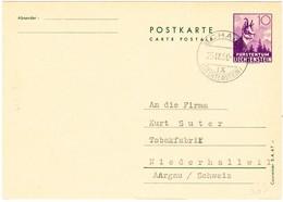 1950 10Rp. Ganzsache Aus Schaan Nach Niederhallwil; Bestellung 900gr Jägertabak - Entiers Postaux