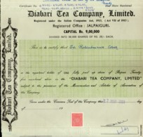 India 2001's Diabari Tea Company Ltd. Share Certificate + Revenue Stamp # FB14 - Industrie