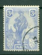 Malta: 1922/26   Emblem     SG130   3d    Cobalt      Used - Malta (...-1964)