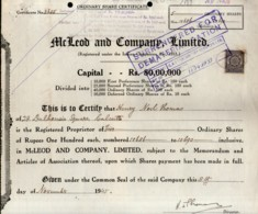 India 1945's McLeod & Company Ltd. Share Certificate + Revenue Stamp # FB15 - Industry