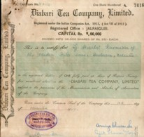 India 1947's Diabari Tea Company Ltd. Share Certificate # FB17 - Industrie