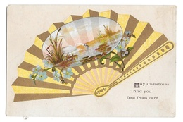Victorian Chromo Lithograph Card Small Christmas Greeting Swan On Lake Gold Fan - Other