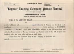 India Kaypear Trading Company Private Ltd. Blank Share Certificate # FB18 - Industry