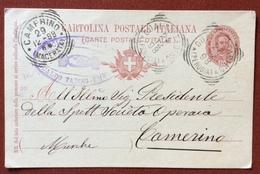 GUALDO TADINO PERUGIA + CAMERINO MACERATA + SOCIETA' OPERAIA SU INTERO POSTALE 98  PER CAMERINO - 1878-00 Humberto I