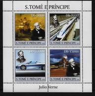 ST THOME ET PRINCE Feuillet  N° 1910/13 * * ( Cote 15e ) Bateaux Trains Voitures Avions Jules Verne - Trains