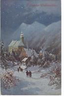 Weihnachtskarte - Gang Zur Mette - Winterlandschaft  -   AK 9297 - Kerstmis