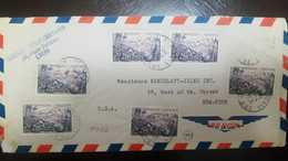 O) 1955 FRANCE-MARTINIQUE, MOUNT PELEE- SCT 780 20fr-MULTIPLE COVERPLACE TOLOZAN LYON-AIRMAIL TO USA - Covers & Documents