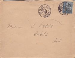 LAC + SAGE N° 90    Départ  GARE DE LYON  ( Rhone )  Pour  CORBELIN ( ISERE )  9 JANV.1889 - 1877-1920: Semi-Moderne