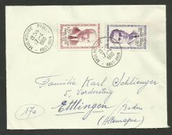 Affr. Résistants MASSE & RIPOCHE / MULHOUSE 07.04.1960 Pour L'ALLEMAGNE - Marcophilie (Lettres)