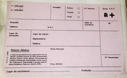Antigua Tarjeta De Donante De Sangre - Equipo Dental Y Médica