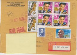 USA 1994 Registered Letter From Laguna Niguel With Elvis Bl Of 4 (F7523) - Verenigde Staten
