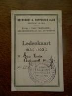 Ledenkaart   1936 - 37  BEERSCHOT  A.  SUPPORTER CLUB - Autres