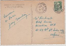 Carte Postale  Place De La Bastille PARIS (Gandon N° 716A Obl. Cachet Type A4 Du 22.12.47) à ALGER(dpt Français) - Francia