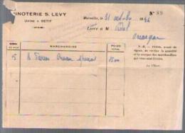 Facture Minoterie S. Levy Marseille - Usine à Sétif - 31-10-1934 Pour Mr Vidal Gréasque - France