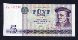 Banconota Germania 5 Marchi 1975 - FDS - [ 6] 1949-1990 : RDA - Rep. Dem. Tedesca
