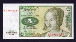 Banconota Germania 5 Marchi 1980 - FDS - [ 6] 1949-1990 : GDR - German Dem. Rep.