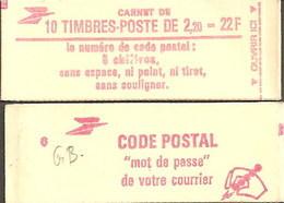 """CARNET 2376-C 2a Liberté De Delacroix """"CODE POSTAL"""" Conf. 6 Fermé Parfait état Bas Prix RARE - Definitives"""