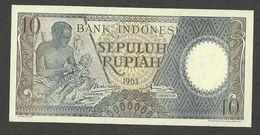 INDONESIA 10 RUPIAH 1963 REPLACEMENT STAR XBB P-89r UNC - Indonésie