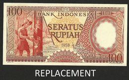 INDONESIA 100 RUPIAH 1958 REPLACEMENT STAR P # 59* UNC - Indonesia