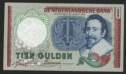 NETHERLANDS 10 GULDEN 1953 Hugo De Groot 6UF 076997 PICK#85 UNC EXTRA BANKNOTE - [2] 1815-… : Kingdom Of The Netherlands