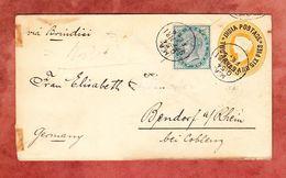 Ascher U 15 + ZF Koenigin Victoria, Seepost, Bombay Ueber Brindisi Nach Bendorf 1891 (58064) - 1882-1901 Empire
