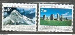 ONU GENEVE MNH ** 222-223 Trésor Du Patrimoine Mondial Parc De Sagarmatha Cercle De Pierre De Stonehenge Royaume Uni - Office De Genève