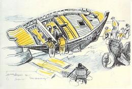 29 – Douarnenez - Sardinier Sur Le Chantier à Douarnenez. - Illustrateurs - Signés > Meheut - Carte Double (voir Scan). - Douarnenez