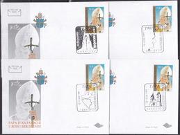 Bosnia, Pope Visit 1997, 4 Covers, Different Commemorative Cancellations - Bosnië En Herzegovina
