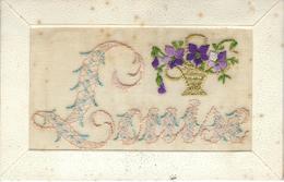 PRENOM - LOUISE - Superbe Cpa Brodée Avec Panier De Fleurs - Prénoms