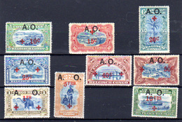 1916 Ruanda-Urundi Congo Surcharge A .O., 38 / 44 *, Cote 150 €, - 1916-22: Neufs