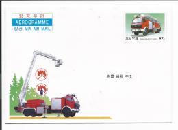 Nordkorea Motiv-Ganzsachen-Umschlag Feuerwehr, Waldbrand - Transports