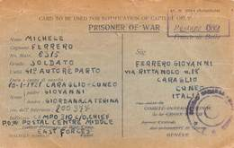 "1376 "" PRISONER OF WAR-SOLDATO MICHELE FERRERO 41° AUTOREPARTO "" CART. POST. ORIG. SPED. - Guerra 1939-45"