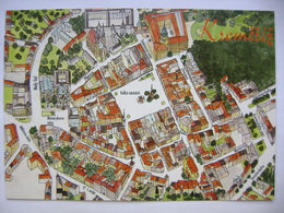 Czech Republic - Kromeriz - Historical City Center, Map Of Bird's-eye View - 1990s Unused - Landkaarten