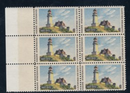 Sc#1391 Maine Statehood 150th Anniversary, Lighthouse, Block Of 6 6c Stamps, Red Color Shift, 9 July 1970 Issue - Ongebruikt