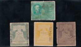 Sc#RV1 #RV18 #RV30 #RV43 1942-1946 Issue Motor Vehicle Use Revenue Lot Of 4 Unused Stamps - Revenues