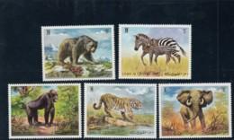 Umm Al-Quwain Animal Theme Issues 10- 15- 20- 25-dirham And 5 Riyal Stamps Souvenir Sheet Gorilla Zebra Tiger Elephant - Umm Al-Qiwain