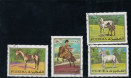 Fujeira Horse Theme, Lot Of 4x 10- 20- 70-dh & 1rl 1970 Issue Stamps - Fujeira