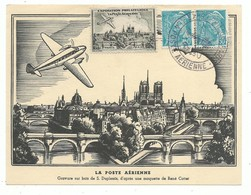 Carte Postale Commémorative  Exposition Philatélique Paris Notre Dame La Poste Aérienne Cachet Tampon Avion  1943 - Airplanes