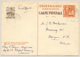 Nederlands Indië - 1948 - 12,5 Cent Kreisler Carte Postale, Briefkaart G77 + 7,5 Cent Van Veldpost Batavia Naar Bergen - Netherlands Indies