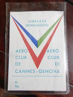 7c) GEMELLAGGIO AEROCLUB GENOVA CANNES JUMELAGE CARTONCINO CON BLISTER SPILLATO - Aviazione Commerciale