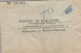 Pneumatique ?? Télégramme Via RADIO-FRANCE  - Divers Cachets - Rue De BUZENVAL -CASTEX - CROZATIER - Marcophilie (Lettres)